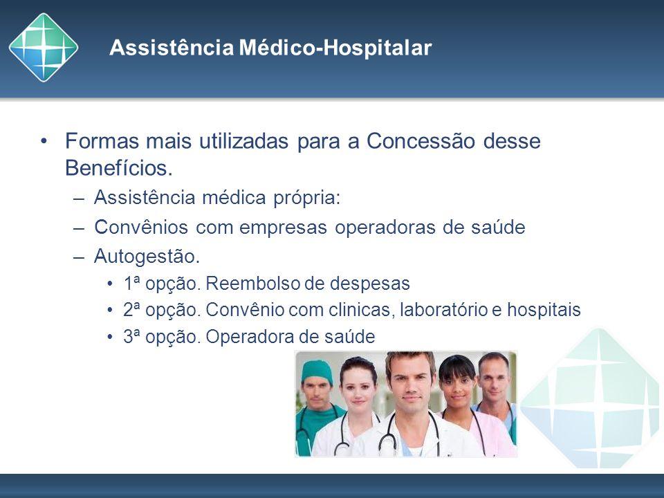 Assistência Médico-Hospitalar Formas mais utilizadas para a Concessão desse Benefícios. –Assistência médica própria: –Convênios com empresas operadora