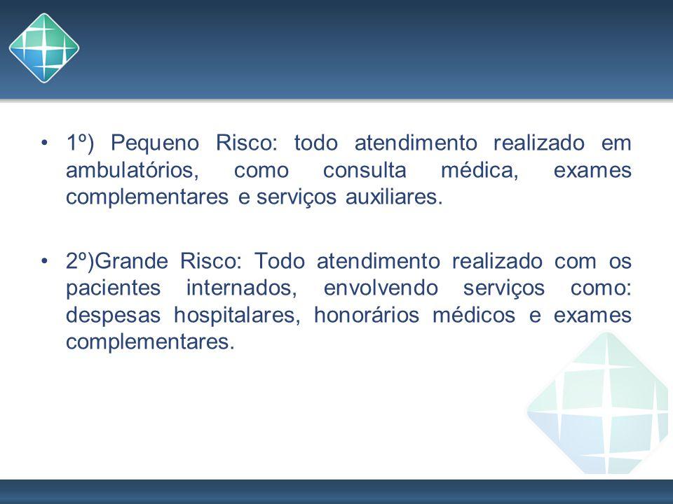 1º) Pequeno Risco: todo atendimento realizado em ambulatórios, como consulta médica, exames complementares e serviços auxiliares. 2º)Grande Risco: Tod