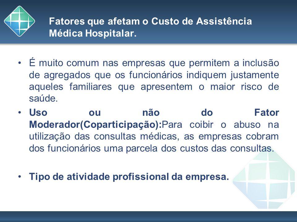 Fatores que afetam o Custo de Assistência Médica Hospitalar. É muito comum nas empresas que permitem a inclusão de agregados que os funcionários indiq