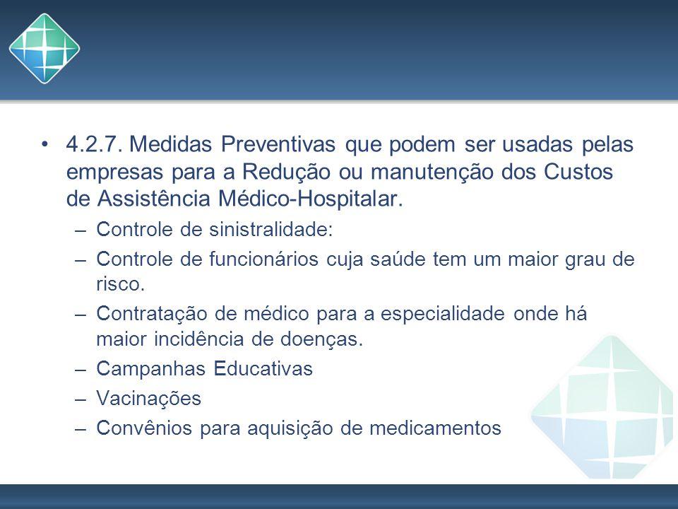 4.2.7. Medidas Preventivas que podem ser usadas pelas empresas para a Redução ou manutenção dos Custos de Assistência Médico-Hospitalar. –Controle de