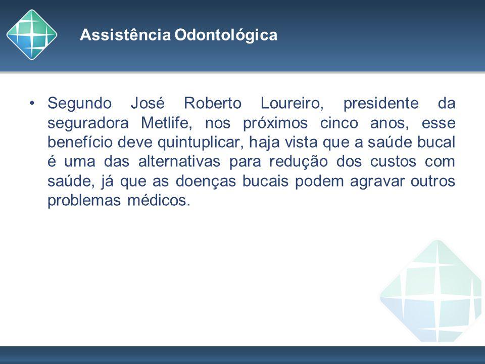 Assistência Odontológica Segundo José Roberto Loureiro, presidente da seguradora Metlife, nos próximos cinco anos, esse benefício deve quintuplicar, h