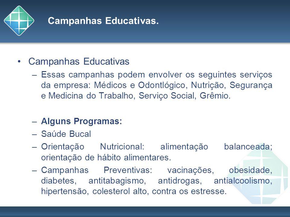 Campanhas Educativas. Campanhas Educativas –Essas campanhas podem envolver os seguintes serviços da empresa: Médicos e Odontlógico, Nutrição, Seguranç