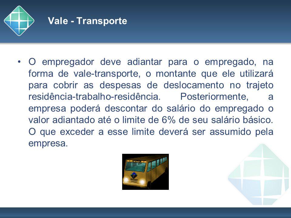 Vale - Transporte O empregador deve adiantar para o empregado, na forma de vale-transporte, o montante que ele utilizará para cobrir as despesas de de
