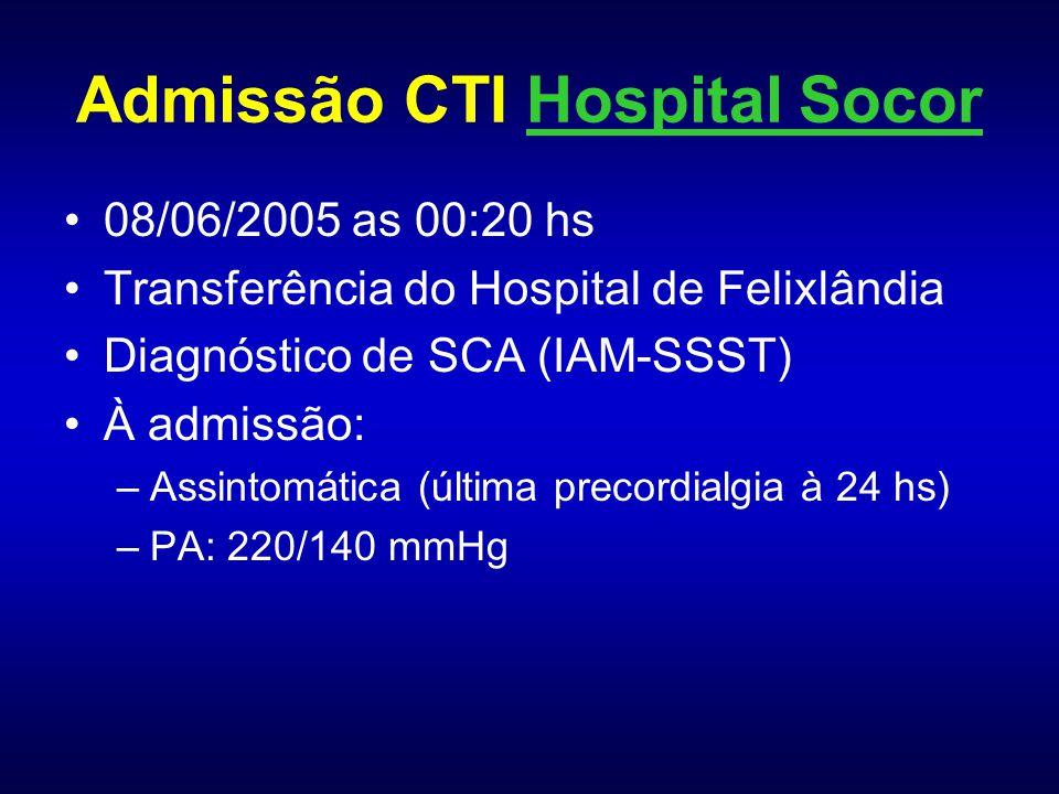 T.N.P., Fem, Melanoderma TIMI 74 anos 1 HAS grave (Clonidina, Captopril, Diltiazem) DMID (NPH 20+30) Dislipidêmica (Sinvastatina) 1 STENT Cx há 12 anos 1 Uso contínuo de AAS 1 1 episódio de Angina de Repouso (15 min - 24 hs) 0 Troponina I aumentada (0,56) 1 ECG com infra de ST anterior/inferior (?) 1 Total 6 (alto risco) * IVP: úlcera isquêmica crônica em MID