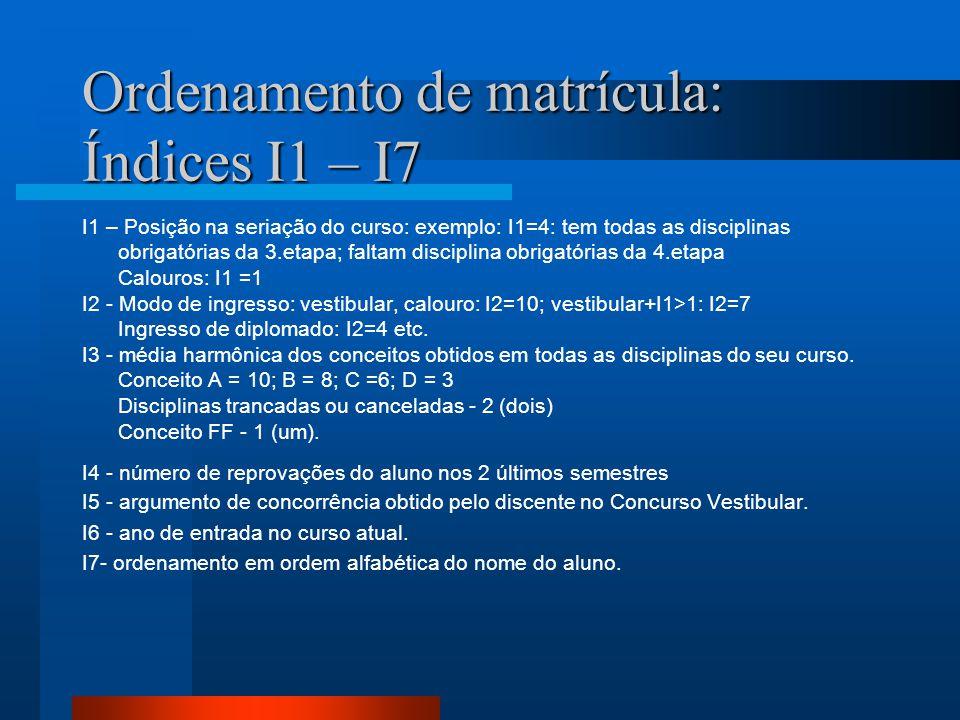 Ordenamento de matrícula: Índices I1 – I7 I1 – Posição na seriação do curso: exemplo: I1=4: tem todas as disciplinas obrigatórias da 3.etapa; faltam d