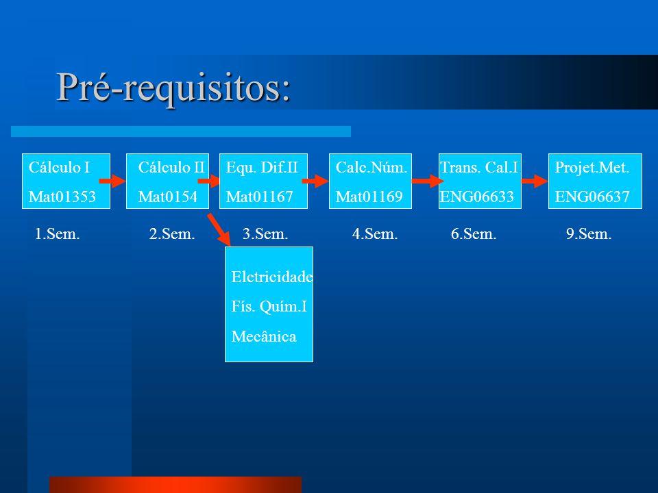 Pré-requisitos: Cálculo I Mat01353 1.Sem. Cálculo II Mat0154 Equ. Dif.II Mat01167 Eletricidade Fís. Quím.I Mecânica 2.Sem.3.Sem. Calc.Núm. Mat01169 Tr