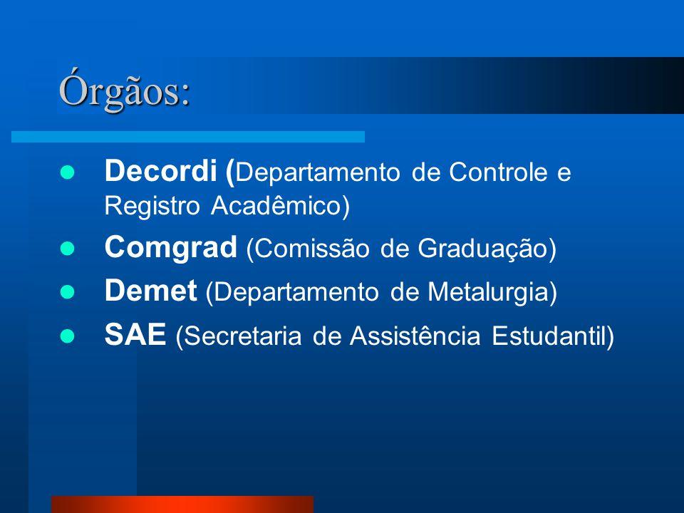 Órgãos: Decordi ( Departamento de Controle e Registro Acadêmico) Comgrad (Comissão de Graduação) Demet (Departamento de Metalurgia) SAE (Secretaria de
