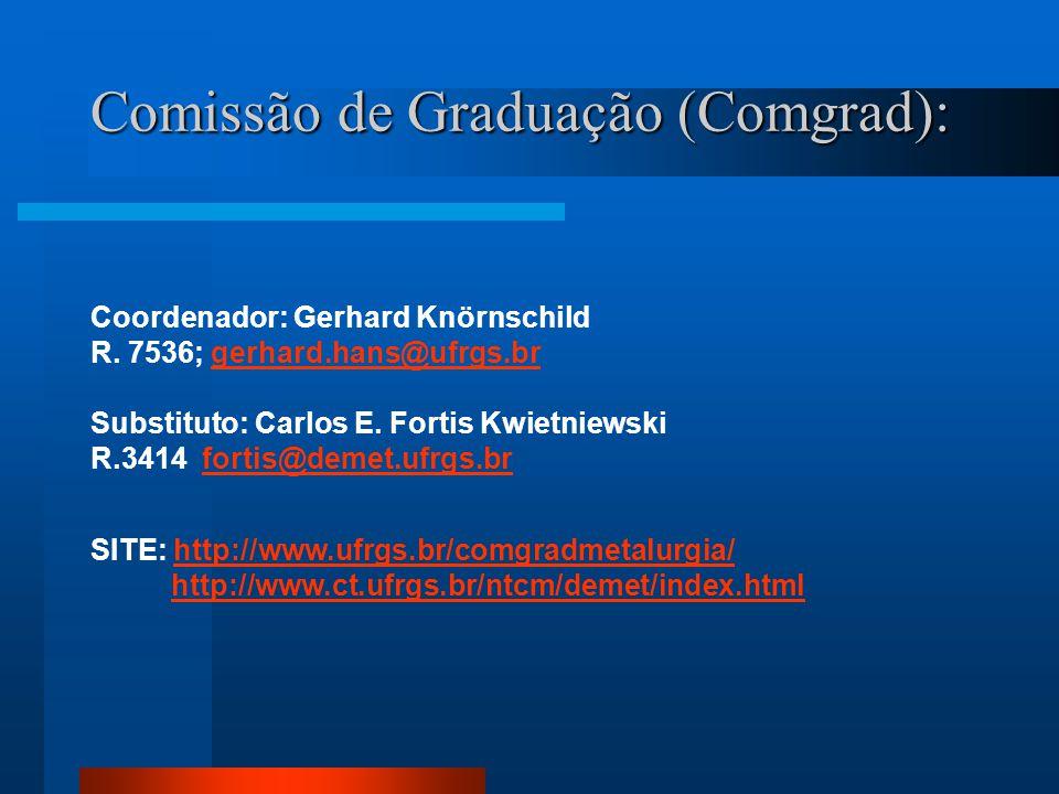 Comissão de Graduação (Comgrad): Coordenador: Gerhard Knörnschild R. 7536; gerhard.hans@ufrgs.brgerhard.hans@ufrgs.br Substituto: Carlos E. Fortis Kwi