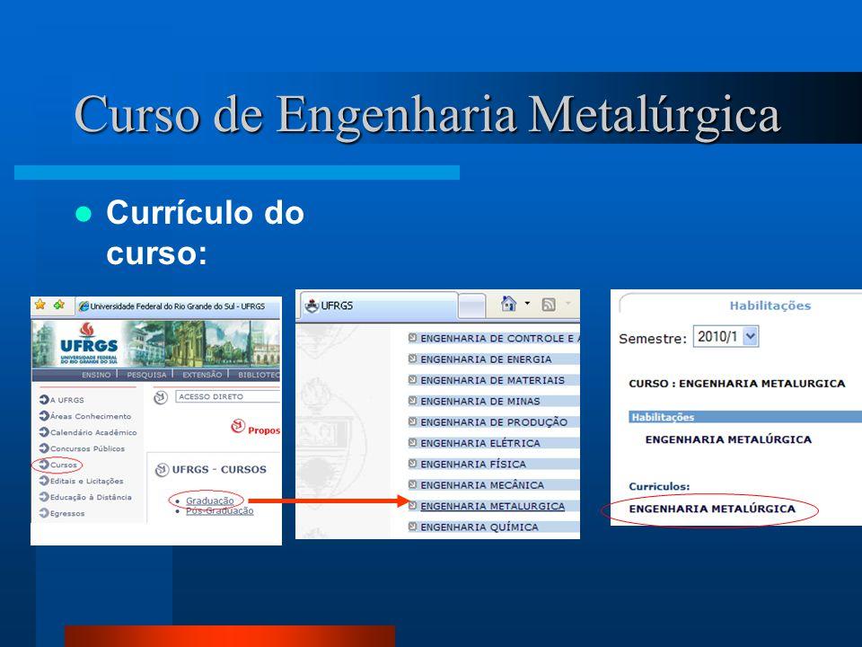 Curso de Engenharia Metalúrgica Currículo do curso: