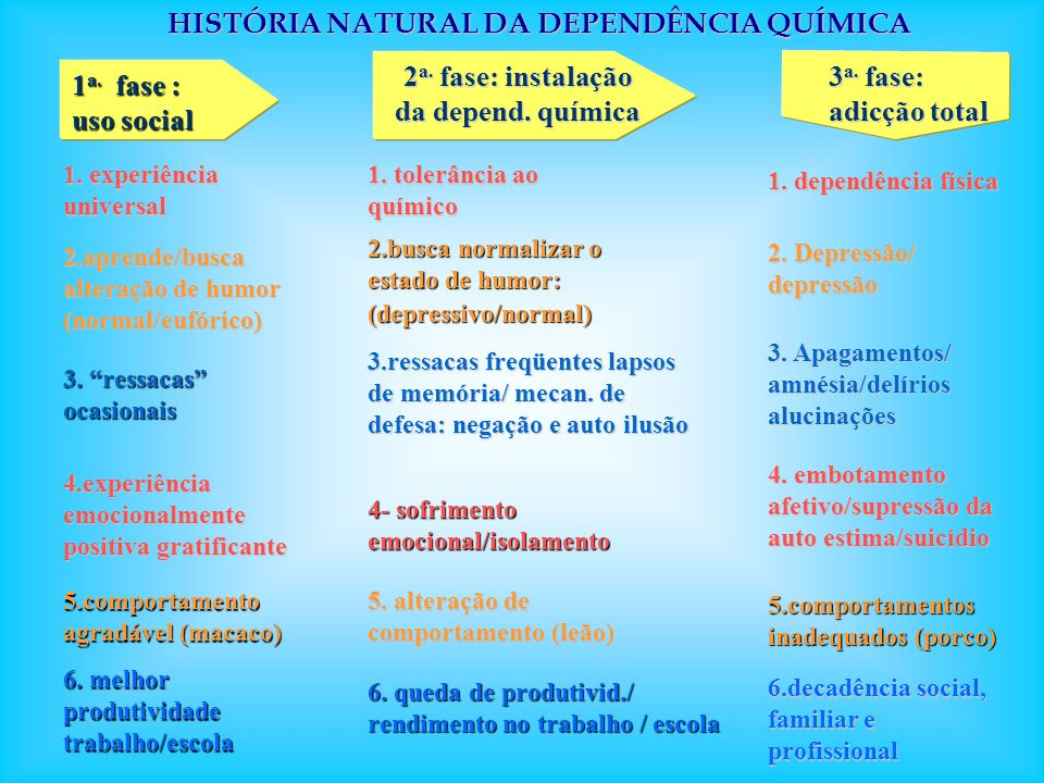 HISTÓRIA NATURAL DA DEPENDÊNCIA QUÍMICA 3. ressacas ocasionais 1. tolerância ao químico 3. Apagamentos/ amnésia/delírios alucinações 1 a. fase : uso s