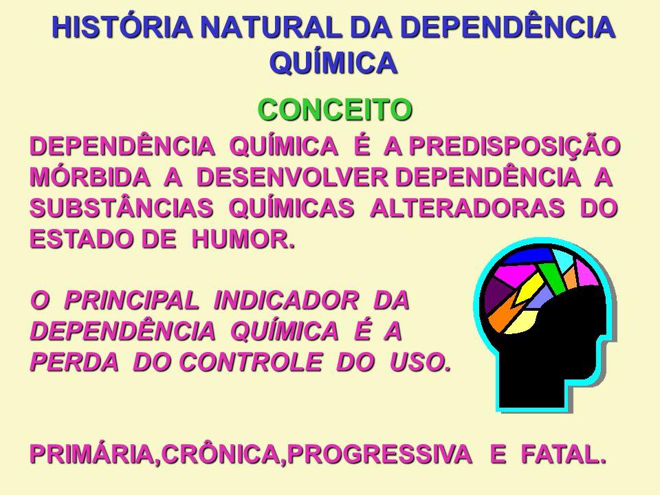 EXPERIÊNCIA UNIVERSAL EXPERIÊNCIA UNIVERSAL APRENDE ALTERAÇÃO DE HUMOR (NORMAL EUFÓRICO) APRENDE ALTERAÇÃO DE HUMOR (NORMAL EUFÓRICO) BUSCA A ALTERAÇÃO DO ESTADO DE HUMOR BUSCA A ALTERAÇÃO DO ESTADO DE HUMOR PERIODICIDADE REGULAR PERIODICIDADE REGULAR RESSACAS OCASIONAIS RESSACAS OCASIONAIS EXPERIÊNCIA EMOCIONALMENTE POSITIVA E GRATIFICANTE EXPERIÊNCIA EMOCIONALMENTE POSITIVA E GRATIFICANTE HÁ SEMPRE VANTAGENS NO USO HÁ SEMPRE VANTAGENS NO USO HISTÓRIA NATURAL DA DEPENDÊNCIA QUÍMICA EVOLUÇÃO 1ª FASE: USO SOCIAL