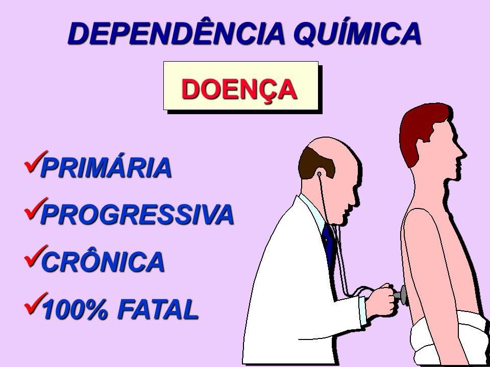 DEPENDÊNCIA QUÍMICA DOENÇA PRIMÁRIA PRIMÁRIA PROGRESSIVA PROGRESSIVA CRÔNICA CRÔNICA 100% FATAL 100% FATAL