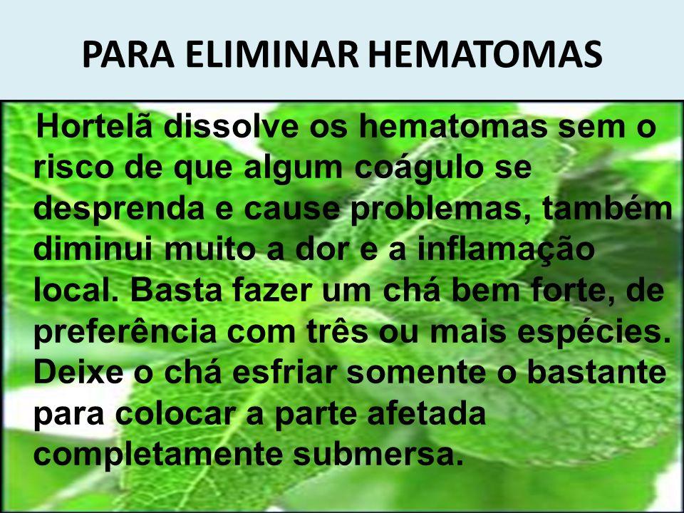 PARA ELIMINAR HEMATOMAS Hortelã dissolve os hematomas sem o risco de que algum coágulo se desprenda e cause problemas, também diminui muito a dor e a