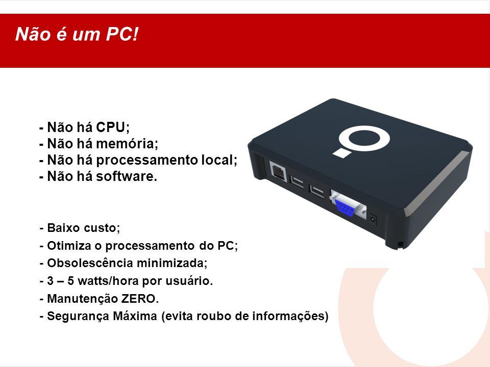 Não é um PC! - Não há CPU; - Não há memória; - Não há processamento local; - Não há software. - Baixo custo; - Otimiza o processamento do PC; - Obsole