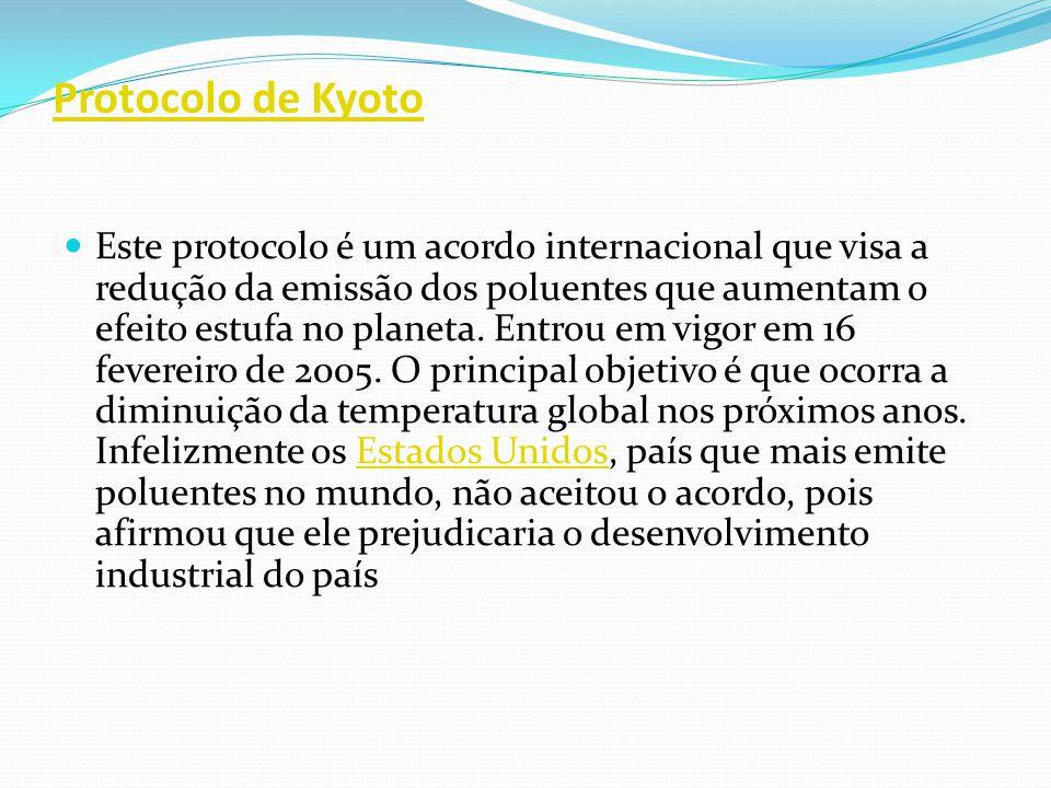 Protocolo de Kyoto Este protocolo é um acordo internacional que visa a redução da emissão dos poluentes que aumentam o efeito estufa no planeta. Entro