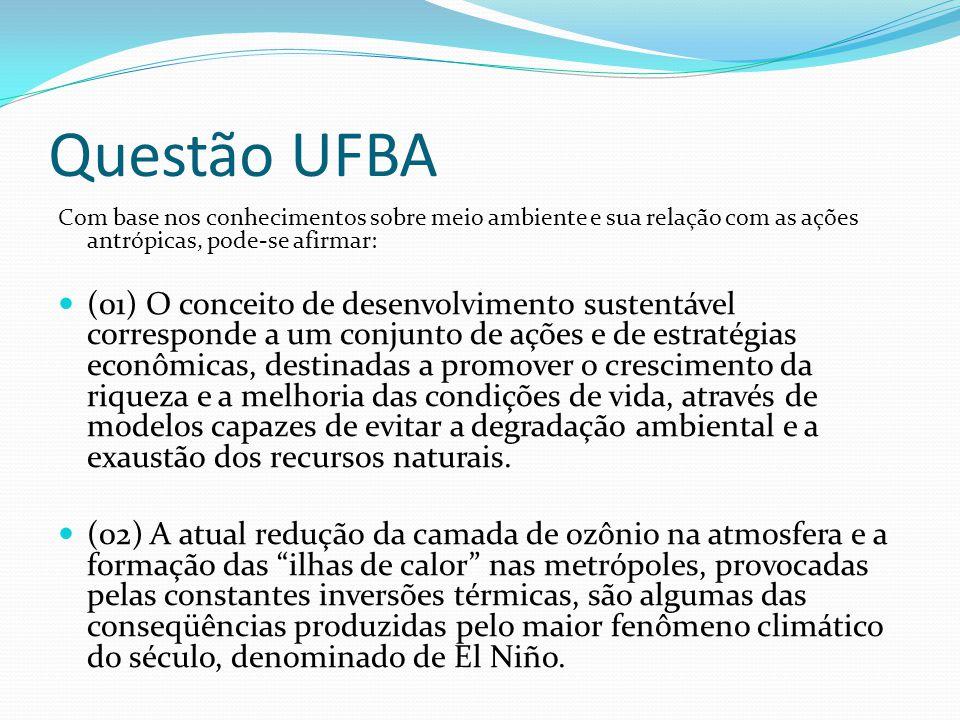 Questão UFBA Com base nos conhecimentos sobre meio ambiente e sua relação com as ações antrópicas, pode-se afirmar: (01) O conceito de desenvolvimento