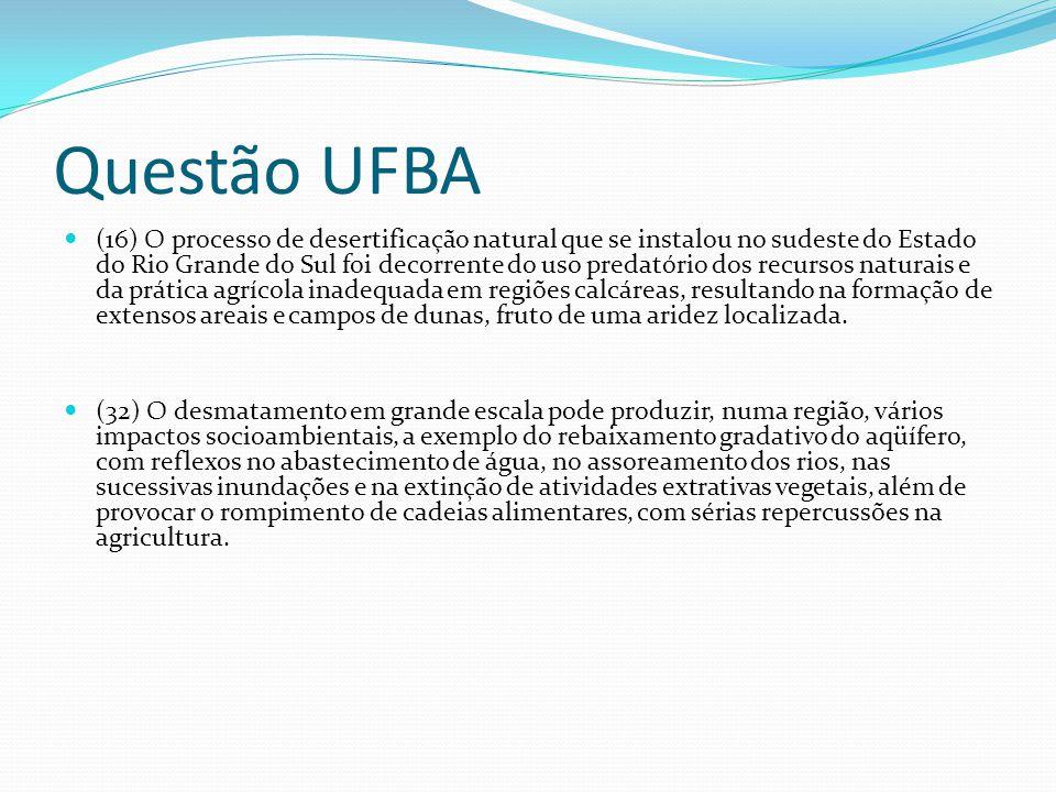 Questão UFBA (16) O processo de desertificação natural que se instalou no sudeste do Estado do Rio Grande do Sul foi decorrente do uso predatório dos