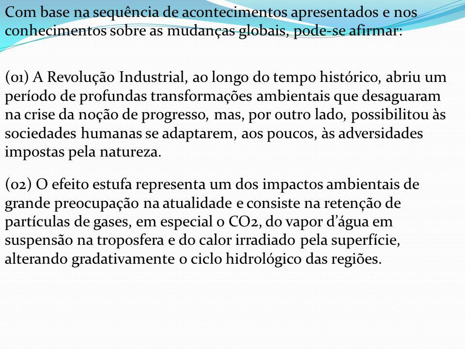 Com base na sequência de acontecimentos apresentados e nos conhecimentos sobre as mudanças globais, pode-se afirmar: (01) A Revolução Industrial, ao l