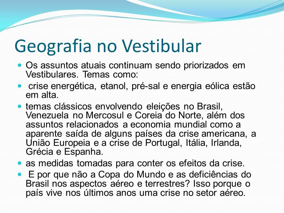 Geografia no Vestibular Os assuntos atuais continuam sendo priorizados em Vestibulares. Temas como: crise energética, etanol, pré-sal e energia eólica