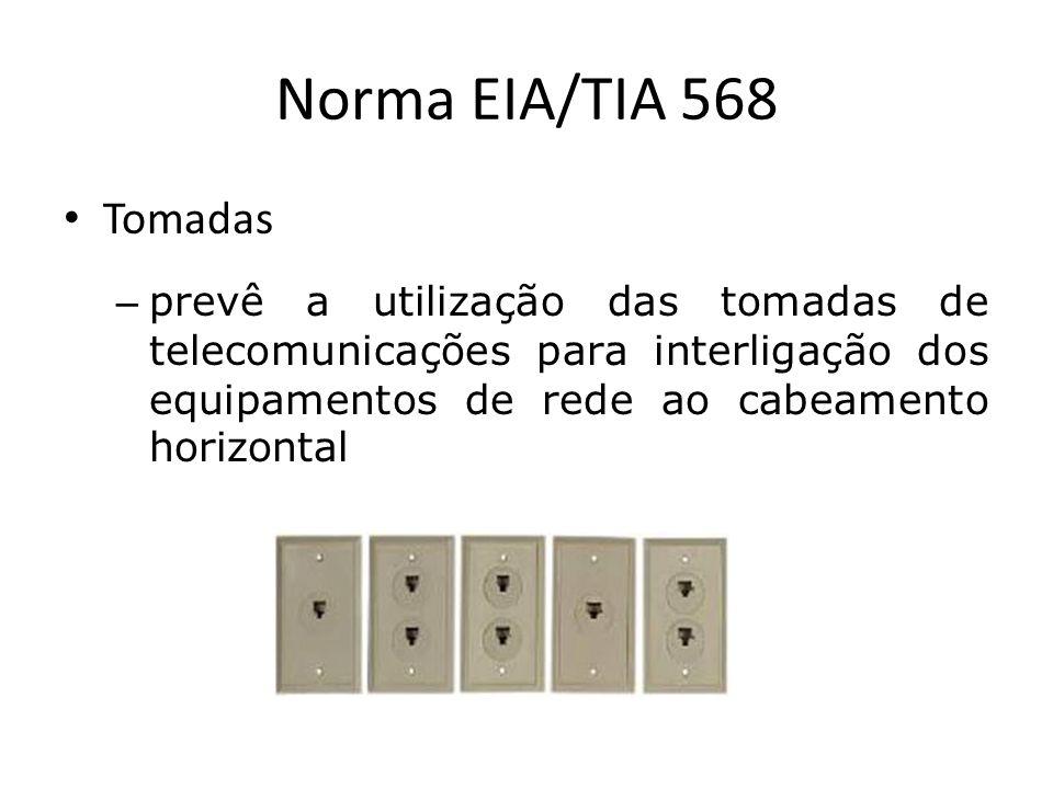 Norma EIA/TIA 568 Tomadas – prevê a utilização das tomadas de telecomunicações para interligação dos equipamentos de rede ao cabeamento horizontal