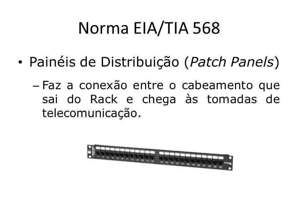 Norma EIA/TIA 568 Painéis de Distribuição (Patch Panels) – Faz a conexão entre o cabeamento que sai do Rack e chega às tomadas de telecomunicação.