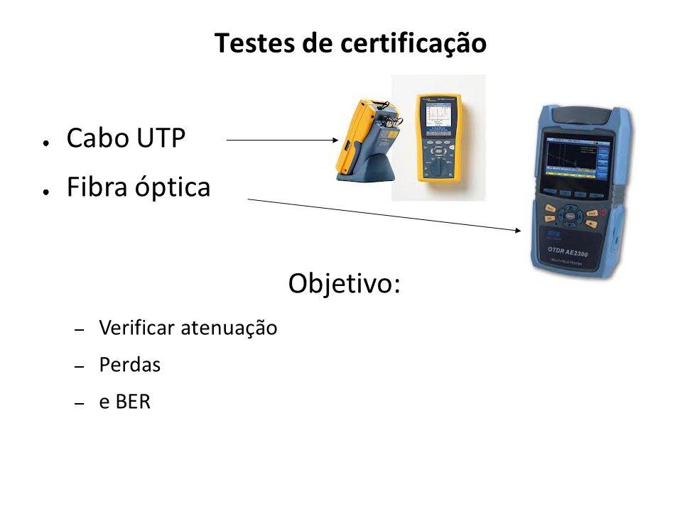 Testes de certificação Cabo UTP Fibra óptica Objetivo: – Verificar atenuação – Perdas – e BER
