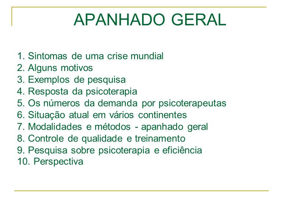 APANHADO GERAL 1. Sintomas de uma crise mundial 2. Alguns motivos 3. Exemplos de pesquisa 4. Resposta da psicoterapia 5. Os números da demanda por psi