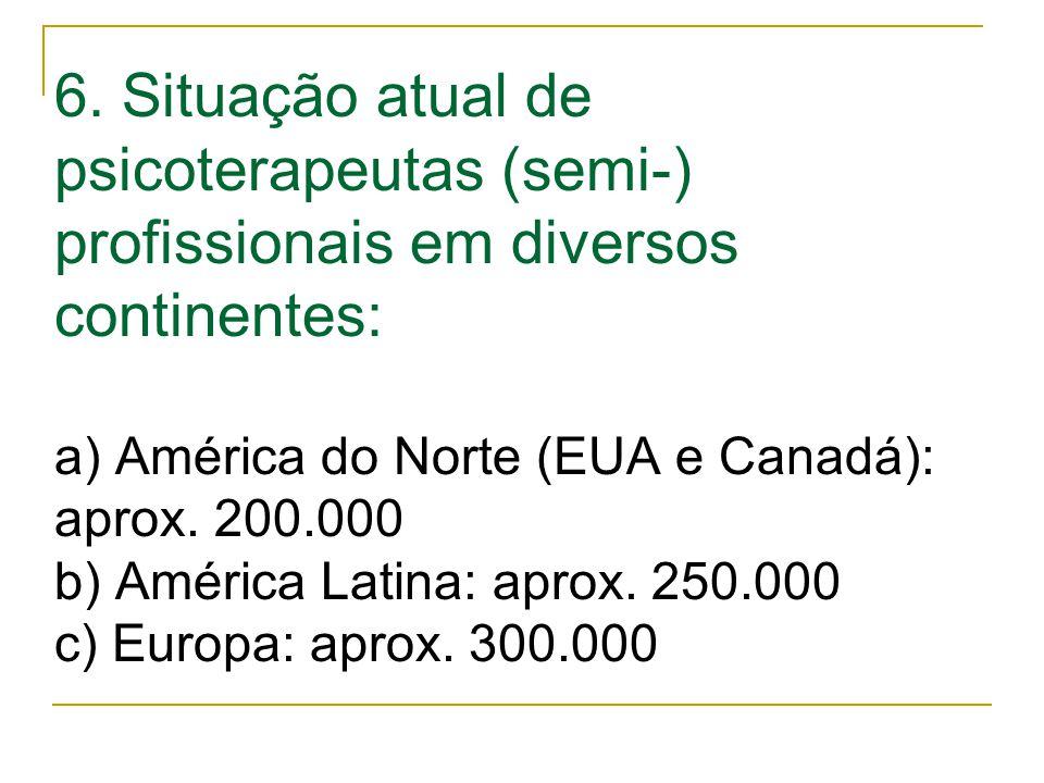 6. Situação atual de psicoterapeutas (semi-) profissionais em diversos continentes: a) América do Norte (EUA e Canadá): aprox. 200.000 b) América Lati