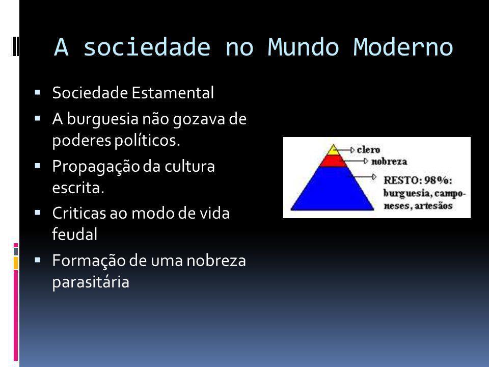 A sociedade no Mundo Moderno Sociedade Estamental A burguesia não gozava de poderes políticos.