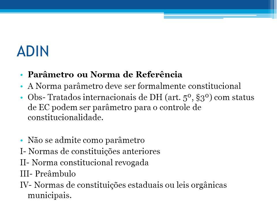 ADIN Parâmetro ou Norma de Referência A Norma parâmetro deve ser formalmente constitucional Obs- Tratados internacionais de DH (art. 5º, §3º) com stat