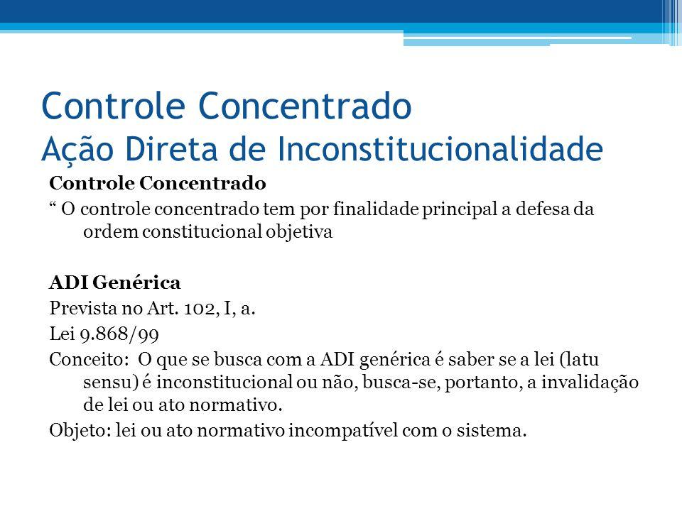 Controle Concentrado Ação Direta de Inconstitucionalidade Controle Concentrado O controle concentrado tem por finalidade principal a defesa da ordem c