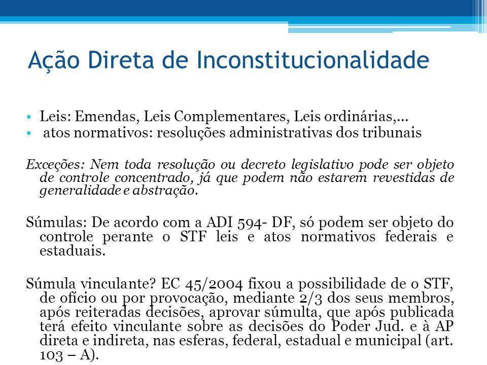 Ação Direta de Inconstitucionalidade Leis: Emendas, Leis Complementares, Leis ordinárias,... atos normativos: resoluções administrativas dos tribunais