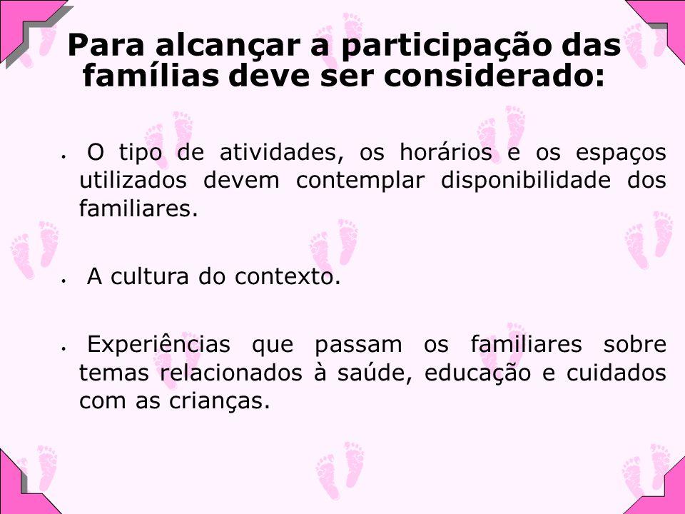 O tipo de atividades, os horários e os espaços utilizados devem contemplar disponibilidade dos familiares. A cultura do contexto. Experiências que pas