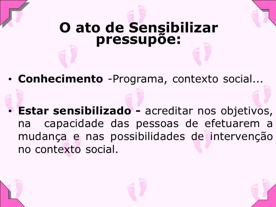 O ato de Sensibilizar pressupõe: Conhecimento -Programa, contexto social... Estar sensibilizado - acreditar nos objetivos, na capacidade das pessoas d
