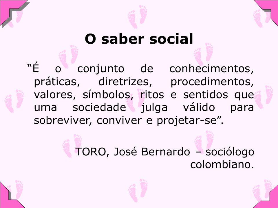 O saber social É o conjunto de conhecimentos, práticas, diretrizes, procedimentos, valores, símbolos, ritos e sentidos que uma sociedade julga válido