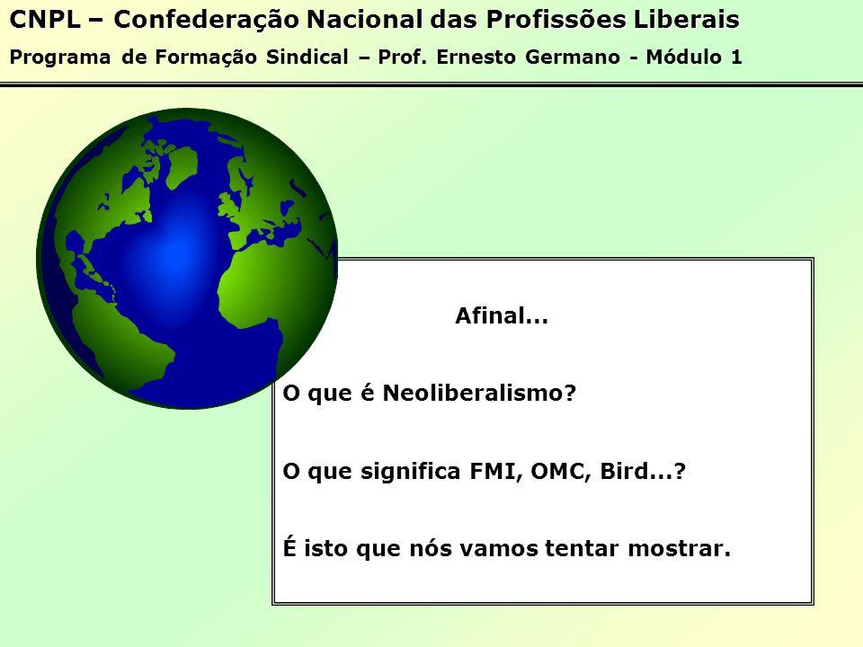 CNPL – Confederação Nacional das Profissões Liberais Programa de Formação Sindical – Prof.