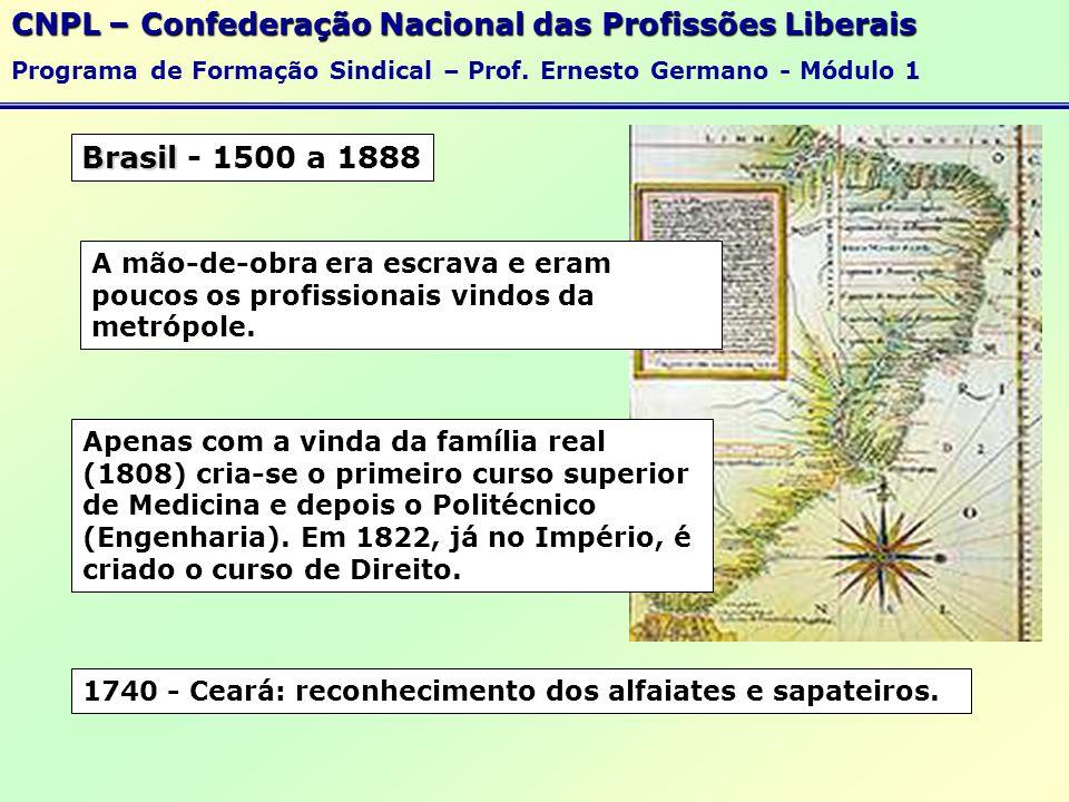 Brasil Brasil - 1500 a 1888 CNPL – Confederação Nacional das Profissões Liberais Programa de Formação Sindical – Prof.