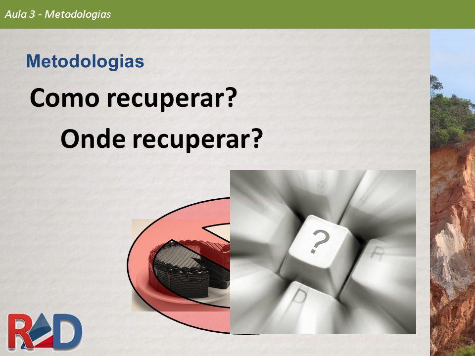 Como recuperar? Metodologias Aula 3 - Metodologias Onde recuperar?