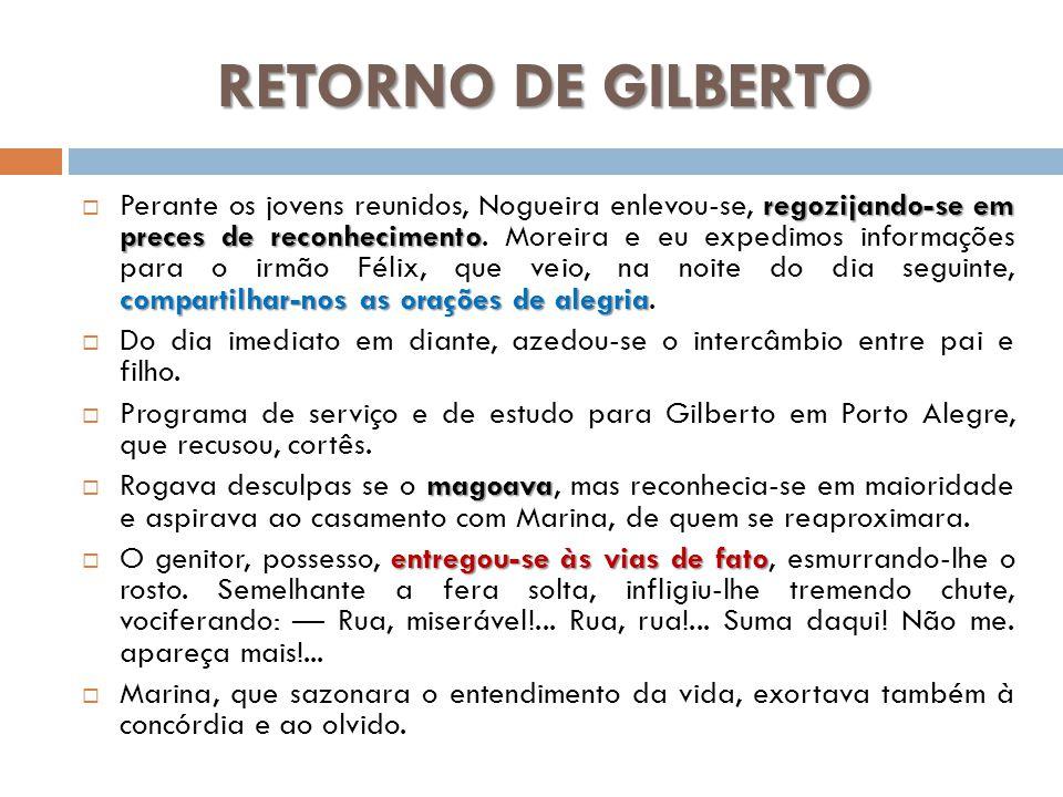 RETORNO DE GILBERTO regozijando-se em preces de reconhecimento compartilhar-nos as orações de alegria Perante os jovens reunidos, Nogueira enlevou-se,