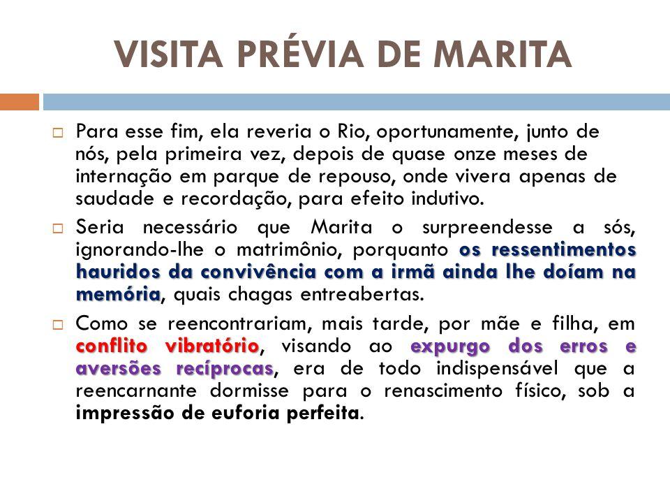 VISITA PRÉVIA DE MARITA Para esse fim, ela reveria o Rio, oportunamente, junto de nós, pela primeira vez, depois de quase onze meses de internação em