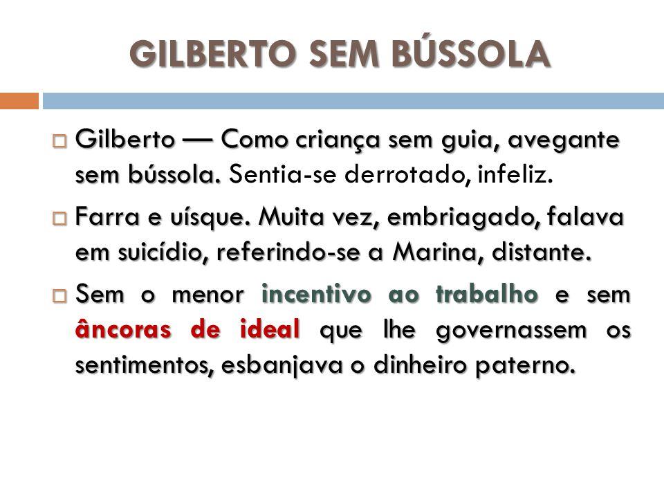 GILBERTO SEM BÚSSOLA Gilberto Como criança sem guia, avegante sem bússola. Gilberto Como criança sem guia, avegante sem bússola. Sentia-se derrotado,