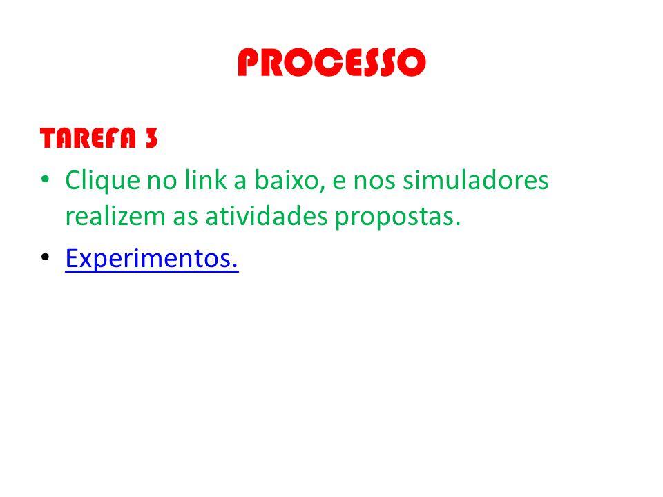 PROCESSO TAREFA 3 Clique no link a baixo, e nos simuladores realizem as atividades propostas. Experimentos.