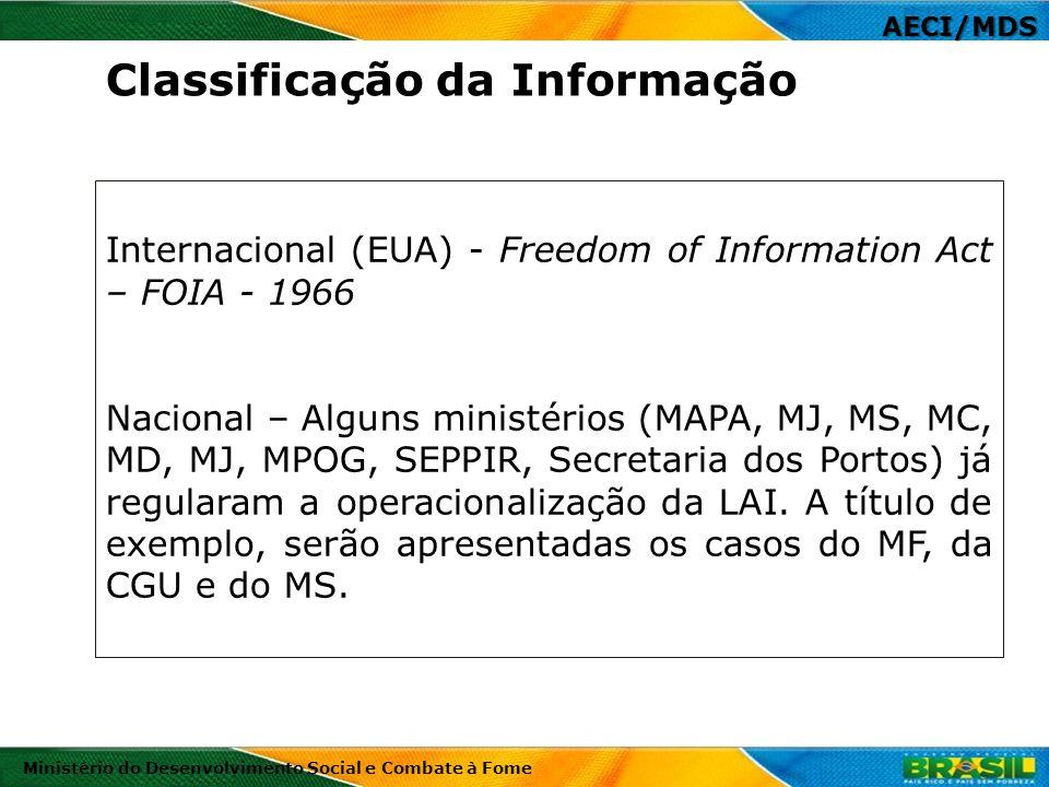 Internacional (EUA) - Freedom of Information Act – FOIA - 1966 Nacional – Alguns ministérios (MAPA, MJ, MS, MC, MD, MJ, MPOG, SEPPIR, Secretaria dos P