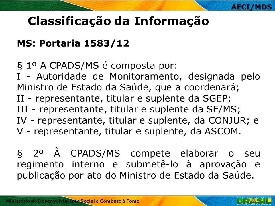 AECI/MDS Ministério do Desenvolvimento Social e Combate à Fome MS: Portaria 1583/12 § 1º A CPADS/MS é composta por: I - Autoridade de Monitoramento, d