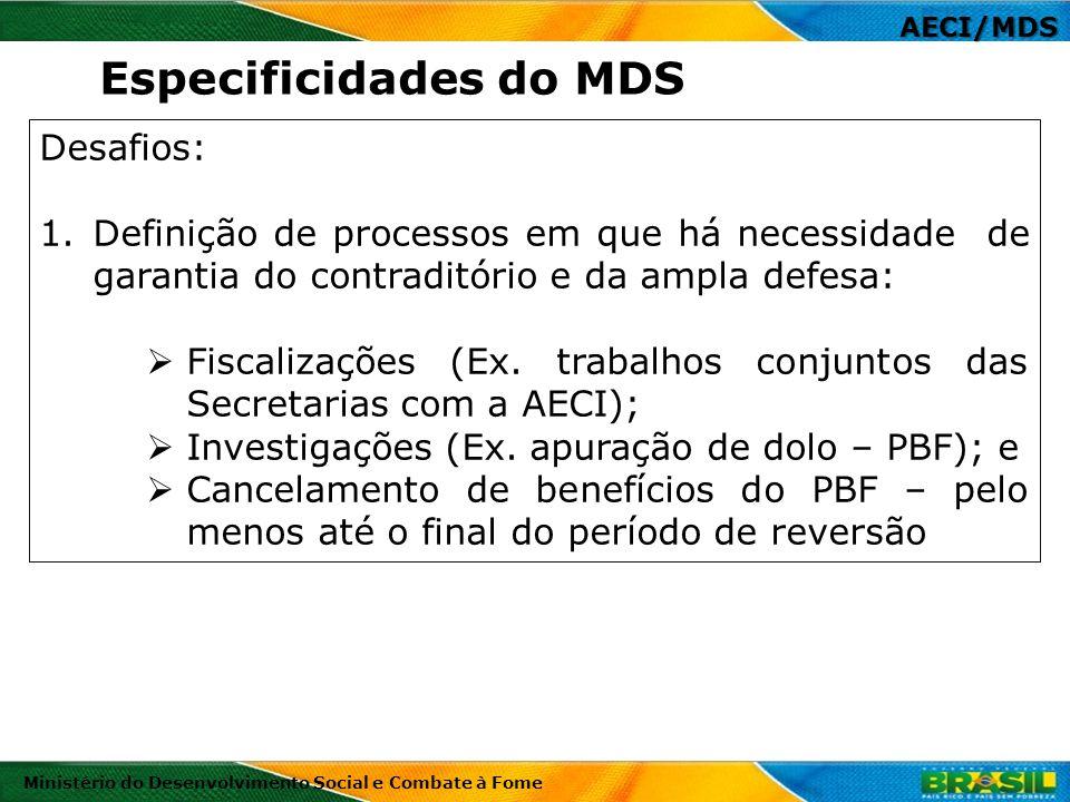 AECI/MDS Ministério do Desenvolvimento Social e Combate à Fome Desafios: 1.Definição de processos em que há necessidade de garantia do contraditório e