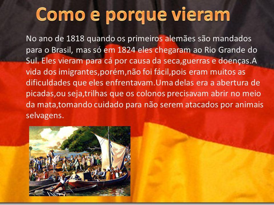 No ano de 1818 quando os primeiros alemães são mandados para o Brasil, mas só em 1824 eles chegaram ao Rio Grande do Sul. Eles vieram para cá por caus