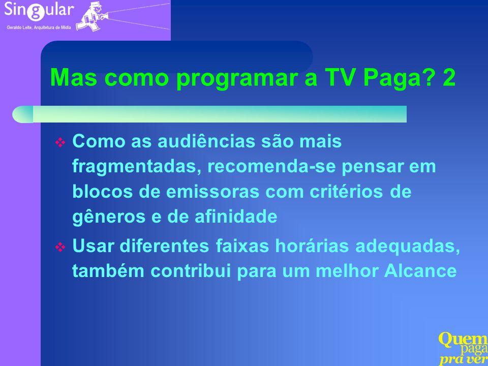 Mas como programar a TV Paga? 2 Como as audiências são mais fragmentadas, recomenda-se pensar em blocos de emissoras com critérios de gêneros e de afi