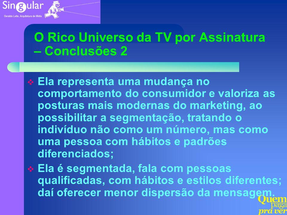 O Rico Universo da TV por Assinatura – Conclusões 2 Ela representa uma mudança no comportamento do consumidor e valoriza as posturas mais modernas do