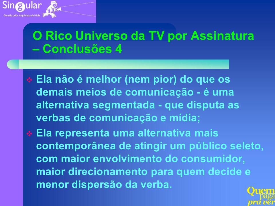 O Rico Universo da TV por Assinatura – Conclusões 4 Ela não é melhor (nem pior) do que os demais meios de comunicação - é uma alternativa segmentada -