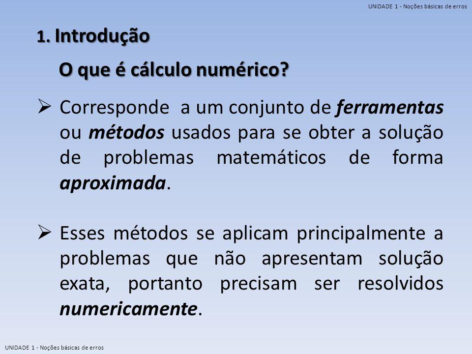 UNIDADE 1 - Noções básicas de erros 1. Introdução O que é cálculo numérico? Corresponde a um conjunto de ferramentas ou métodos usados para se obter a